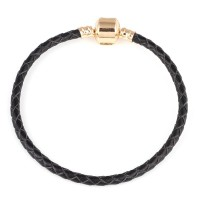Synthetic Leather Strap with Gold Plated Life Moments 20cm / 3mm