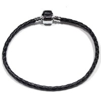 Synthetic Leather Bracelet with Silver Bath Life Moments 20cm / 3mm