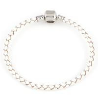 Synthetic Leather Bracelet with Silver Bath Life Moments 16cm / 3mm