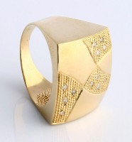 Ring Yellow Gold with 12 Diamonds of 1 Point