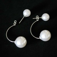 Silver Earring 925 Collection Two in One with Pearls