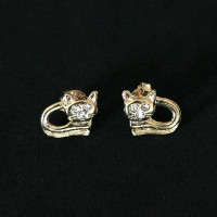Semi Earring Jewelry Gold Plated cat with zirconia stones
