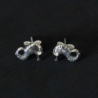 Earring 925 Silver Aged Marine Horse