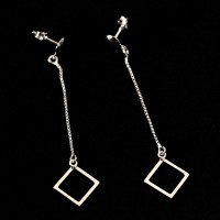 Silver Earring 925 Square Dropped