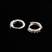 Earring 925 Silver Small Ring with Zirconia Stone