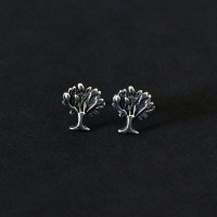 925 Silver Earring Aged Tree of Life