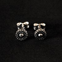 925 Silver Earring Aged Circle