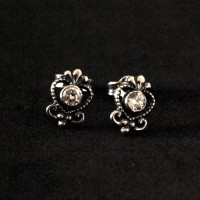 925 Silver Earring Aged With Zirconia