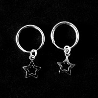 925 Silver Earring Small Hollow Star Hoop
