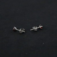 Surgical Steel Earring 2 Hole Red Zirconia