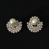 Semi Earring Jewelry Gold Plated Pearl with Zirconia stones