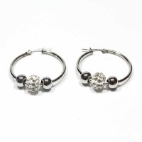 Stainless Steel Earring with Zirconia Ball and Two Balls