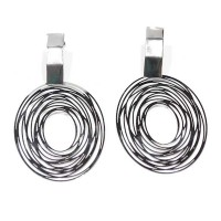 Stainless Steel Earring Scratched Circle