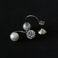 Surgical Steel Earring with Pearl with Zirconia Stone