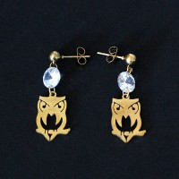 Stainless Steel Earring Gold Plated Owl with Zirconia