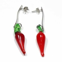 Stainless Steel Earring with Murano Pepper