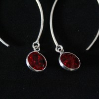 925 Silver Earring with Red Zirconia Stone