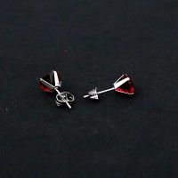 Surgical Steel Earring Red Zirconia