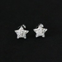 Earring of Stainless Steel Star with Zirconia Stone
