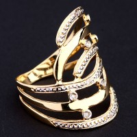 Ring of Yellow Gold, White Gold with 6 Diamonds of Half Point