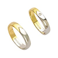 Alliance Gold and White Gold 18k 750 Width 4.00mm Height 1.40mm / Alliance Gold and 18k White Gold 750 with a Flawless 2.25 Points Width 4.00mm Height 1.40mm