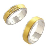 Alliance Gold and White Gold 18k 750 Width 6.00mm Height 1.50mm / Alliance Gold and 18k White Gold 750 with 10 Brilliant 1.25 Points Width 6.00mm Height 1.50mm