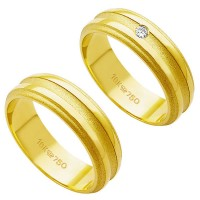 Alliance Gold 18k 750 Width 6.00mm Height 1.50mm / Alliance 18k Gold 750 with 1 Brilliant 3.50 Points Width 6.00mm Height 1.50mm