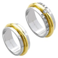 Alliance Gold and White Gold 18k 750 Width 7.50mm Height 2.30mm / Alliance Gold and 18k White Gold 750 with 10 Brilliant 11.00Points and 1 Brilliant 1.00Points Width 7.50mm Height 2.30mm