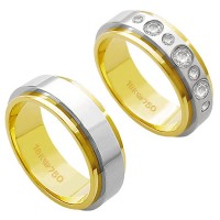 Alliance Gold and White Gold 18k 750 Width 7.00mm Height 2.20mm / Alliance Gold and 18k White Gold 750 with 3 Brilliant 11.00Points and 4 Brilliant 2.25Points Width 7.00mm Height 2.20mm