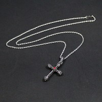 80cm Steel Chain with Crucifix Pendant with Red Zirconia Stone