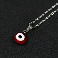 60cm Portuguese Steel Chain with Red Greek Eye Pendant
