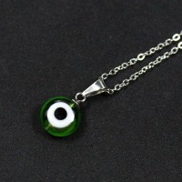 60cm Portuguese Steel Chain with Green Greek Eye Pendant