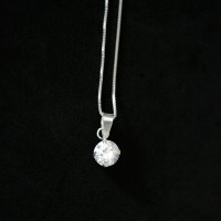 Necklace 925 Silver Pendant with Stone Point Light with Zirconia