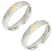 Pair of Alliance Stainless Steel 5mm with 1 letter on Gold