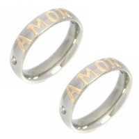 Pair of Alliance 5mm Stainless Steel with Zirconia Stone and Apply Love in Gold