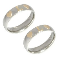 Stainless Steel Alliance couple with two hearts and a letter in Gold