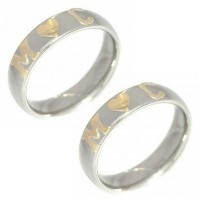 Pair of Alliance Stainless Steel 5mm with 1 Heart in the Middle and 2 Letters in Gold