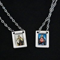 Scapular of Colorful Surgical Steel Nossa Senhora do Carmo and Sacred Heart of Jesus 60cm
