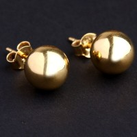 Earring Yellow Gold with Large Ball