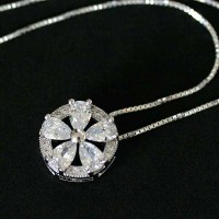 Silver chain with pendant 925 flower with Zirconia Stone