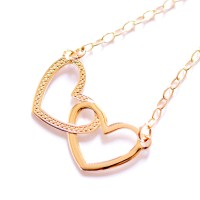 Gold Plated Semi Jewel Choker Necklace with Interlaced Hearts Pendant 45cm