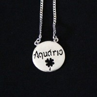 Silver Necklace 925 Scapular Aquarius Sign 70cm
