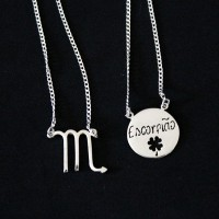 Silver Necklace 925 Scapular Scorpio Sign 70cm
