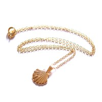 Gold Plated Semi Jewel Choker Necklace with Shell Pendant 45cm