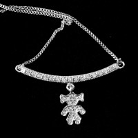 925 Sterling Silver Choker with Studded Girl 60cm