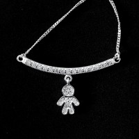 925 Sterling Silver Choker with Studded Boy 60cm