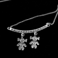 925 Sterling Silver Choker with 2 Girls Studded 60cm