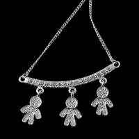 925 Sterling Silver Choker with 3 Boys Studded 60cm