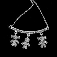 Flap 925 Silver Choker with 2 Girls and 1 Studded Boy 60cm
