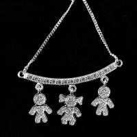 925 Sterling Silver Choker with 2 Boys and 1 Studded Girl 60cm